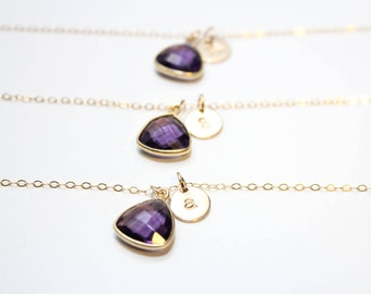 amethyst bridesmaid initial necklace, amethyst gold bridesmaid initial necklace, amethyst bridesmaid jewelry, gemstone bridesmaid necklace