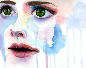 Fixated: A Watercolor Portrait