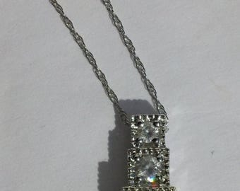 Lovely 10Kt White Gold AAJ Necklace & Three Diamond Pendant FREE SHIPPING
