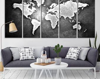 Large Wall Art World Map Canvas Print,  Black & White World Map Canvas Print, Metalic World Map Canvas Print, World Map Wall Art, Large Map
