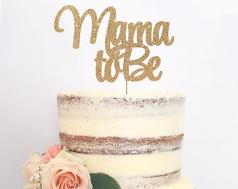 Mama To Be Cake Topper for Baby Shower, Gender Reveal Party, Pregnancy - Gold Glitter Cupcake and Cake Topper, Newborn Little One