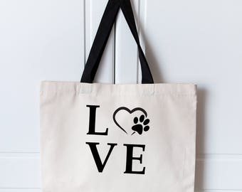 Large Love Dog Tote Bag | Dog Bag | Canvas Tote Bag | Dog Lover Bag | Large Shopping Bag | Dog Tote Bag | Dog Lover |