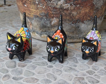 Nice Cat Ceramic Black Talavera Friendly Mini Cuttie Cat Home Kitchen Patio  Kitchen Pottery Decor