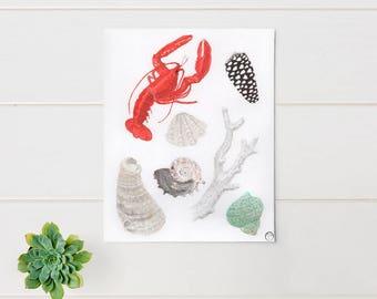 Of the Sea, watercolor painting, art print, wall art, beach decor, nautical print, sea life art