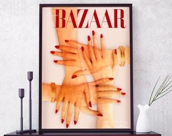 Vintage Harper's Bazaar Cover Print. Bazaar cover poster. Fashion Wall Art. Harpers Bazaar magazine cover. Bazaar Cover Hands. Bazaar Art.