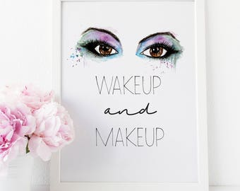 Bathroom Vanity, Fashion Wall Art, Vogue Poster, Fashion Illustration, Makeup Wall Art, Makeup Brushes, Beauty Print, Dressing Table, Makeup