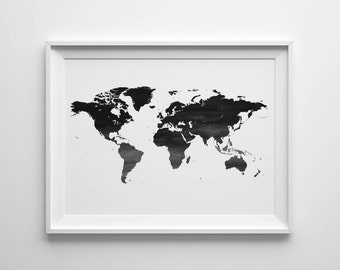 World map print, large world map, world map poster, world map watercolor, watercolor map, wanderlust print, Nursery world map, printable map