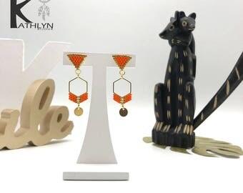MAYA orange and gold earrings