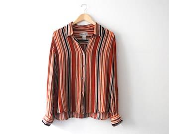 Vintage 90s Silk/Linen Blend Paper Thin Striped Blouse