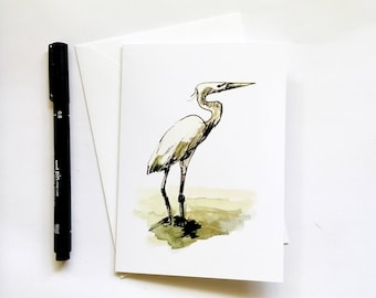 Bird lover gift! Egret greeting card - blank friendship bird Florida nature wildlife art original watercolor print; one greeting card w/ env