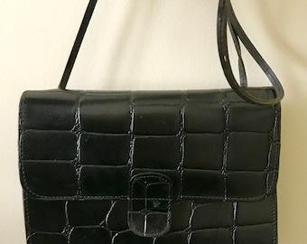Vintage Mundi Leather Black Crossbody Bag