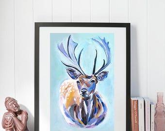 Print - Deer Art Painting artwork copy