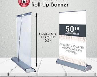 Mini Tabletop / Desktop Portable Roll Up Retractable Banner - Mini Banner - Portable Desktop Banner -  Retractable Banner for Every Occasion