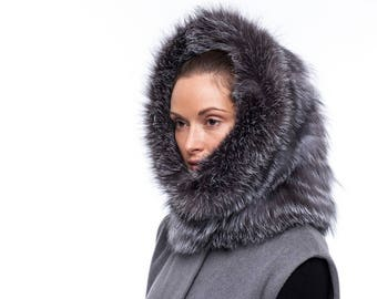 Handmade blue silver fox fur hood