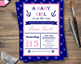 Printable Nautical Baby Shower Invitation Girl, Nautical Baby Shower Invite, Anchor Baby Shower, Pink and Blue Navy Baby girl is on the way