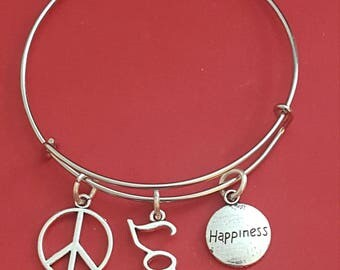 Peace, Love and Happiness Themed Charm Bracelet