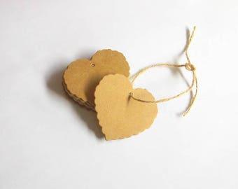 20 heart shaped tags, Kraft heart tags, wedding favor tags, Wedding tags, Kraft paper tags, Kraft gift tag, Wedding tag, Kraft tags