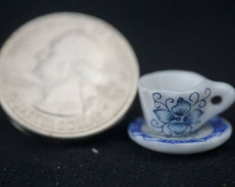 Antique Cup and Saucer: Handley House, garden supplies, fairy garden, dollhouse, miniature,