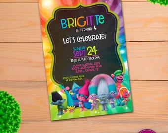 Trolls Birthday Invitation, trolls party supplies, trolls party, trolls invitations, Printable Trolls Birthday, Download Digital Files