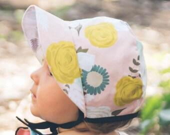 Cotton Baby Bonnet, Floral Bonnet, Sun Hat, Coral, Floral, Girls Clothes, Baby Clothes, Summer, Boho