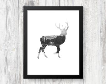 Printable Art - Digital Print - Nature Lover Gift - Home Decor - Wall Art Print - Nature Art - Forest Art - Deer Art Print - Black and White