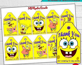 SpongeBob Party, Printable SpongeBob Thank You Tags,  SpongeBob Birthday Party Thank You Tags, instant download