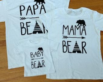 Bear Family Shirts- Papa Bear, Mama Bear, Baby Bear