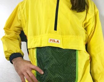 FILA Vintage 90s Yellow Windbreaker Jacket with Mesh Pocket