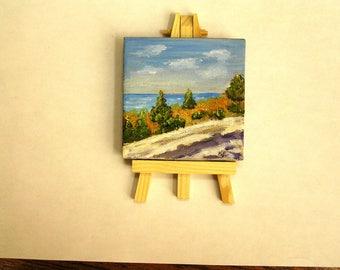 "Blue Ridge Mountains, 3""x3"" canvas in oils"