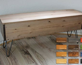 Rustic/ Industrial Wooden Storage Bench with Metal Hairpin Legs