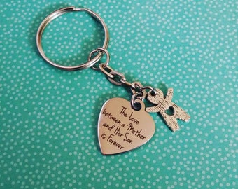 The Love between Mother and Son is Forever Stainless Steel Keychain