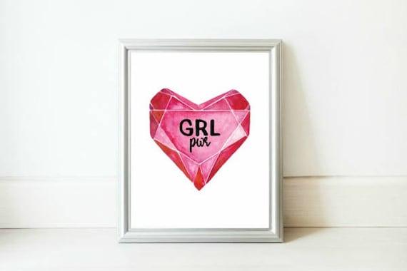 Girl Power Print / Ruby Heart Print / Feminism Poster / Strong Girls Art / GRL pwr Print / Motivational Feminist Print / Girl Power Poster