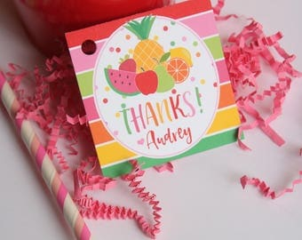 Tutti Fruitti Birthday Party Favor Tags/Stickers - TWO-ti Fruity Birthday - Tutti Fruity Thank You Tags OR Stickers, Set of 12
