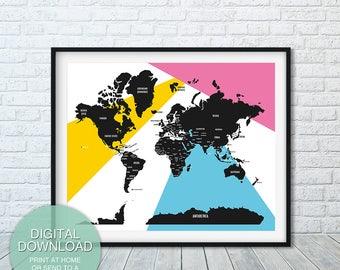 Scandinavian World Map decor, World map print, world map art print, map of the world, map poster, map art, Home decor, colorful map print