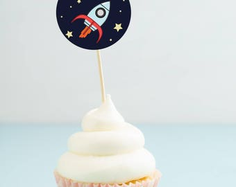 Rocket Ship - Printable Cupcake Toppers  - Outer Space Party - Space Ship Birthday - Cupcake Topper - Astronaut - Space Rocket