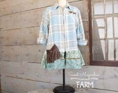 Flannel Shirt - Tunic  - Boho Clothing - Upcycled - Womens A- Line Style - Jacket , Aqua and Tan Zipper Jacket Velvet Flower Back