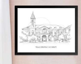 Texas Christian University, Fine Art Print, Hand Drawn, TCU, Texas, State, Tech, Signed Art ( Sizes  5 x 7, 8 x 10, 13 x 19, 16 x 20)