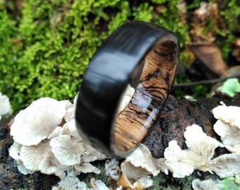 Carbon Fiber Ring with Spalted Tamarind Wood Interior, Wood Ring, Carbon Fiber, Exotic Wood Ring, Wedding, Engagement
