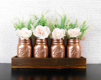 White Rose Decor, Mason Jar Centerpieces, Wedding Centerpieces, Mason Jars in Wooden Box, Floral Decor, Rustic Home Decor, Farmhouse Decor