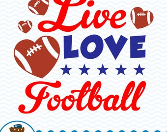 Live Love Football SVG DXF, Live Love Football Design, Football Quote, Football Clip Art, Love Football Cut File, Instant Download ark-15