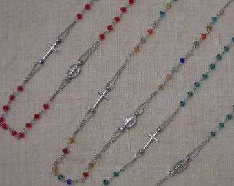 Colored rosary - Choker in silver 925 - Colored beads