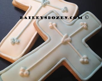 Baptism favors | Custom decorated cookies | Baby boy Christening | Cross cookies | Baby blue