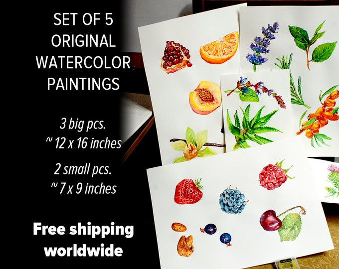 Watercolor fruit painting Kitchen watercolor set of painting 5 watercolor food painting watercolor herbs original artwork House warming gift