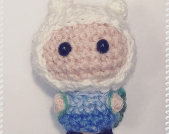 Finn the Human, Amigurumi, crocheted figurine, adventure time, doll, backpack, cartoon, Cartoon Network, kawaii, cute