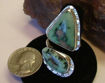 Variquoise Ring Variscite Turquoise OOAK Sterling Silver Snowville Utah Statement Jewelry Adjustable Size 8 to 11 1/2 Green and Black  092G