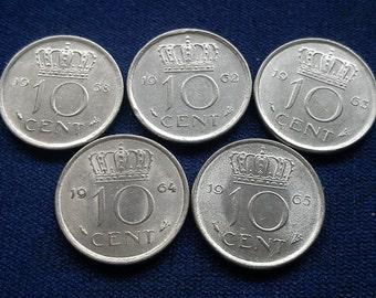 Netherlands 10 Cent 1958 1962 1963 1964 1965 Queen Juliana VF Grade