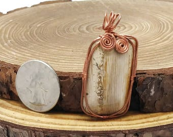 OOAK Petrified Wood and Copper Wire Wrapped Pendant
