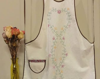 Hand embroidered muslin vintage style apron