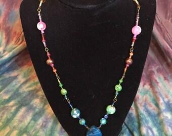 Elegant Rainbow Seed Bead Necklace (Party, Glass, Ceramic, Mosaic, Geode, Stone)
