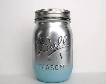 Distressed Silver and Blue Ombre Jar